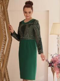 Miss Saliha Payetli Abiye Elbise- Zumrut - Saliha