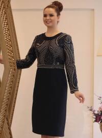 Payetli Abiye Elbise - Lacivert - Saliha