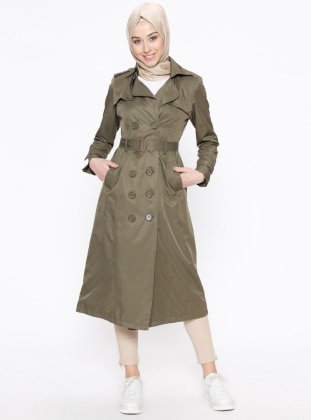 Khaki - Fully Lined - Point Collar - Trench Coat - Bwest