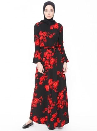 Red - Black - Floral - Crew neck - Unlined - Dresses - Dadali 406972