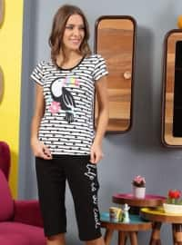Black - Crew neck - Multi - Pyjama