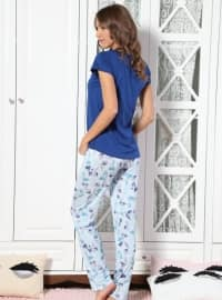 Blue - Crew neck - Multi - Pyjama