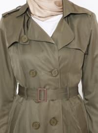 Khaki - Fully Lined - Point Collar - Trench Coat
