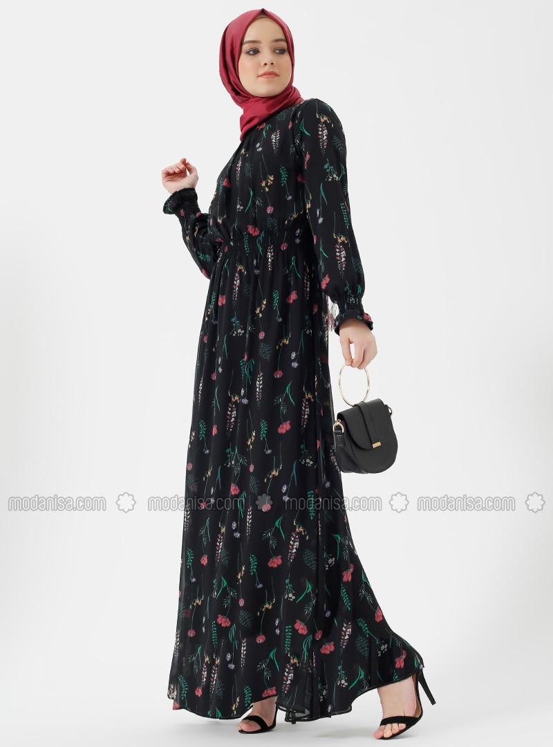 de395181139ad Çiçekli Şifon Elbise - Siyah