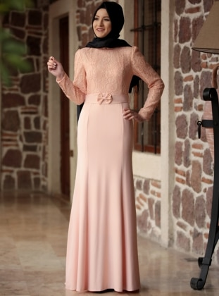 Powder - Fully Lined - Round Collar - Muslim Evening Dress