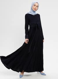 Navy Blue - Crew neck - Unlined - Dress - BAGİZA
