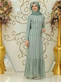 Mia Dantel Elbise - Yeşil - Gamze Özkul