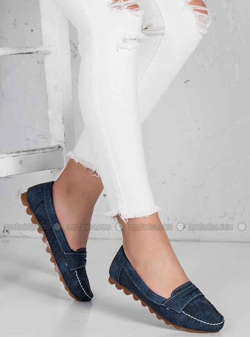 Navy Blue Flat Shoes Flatshoes