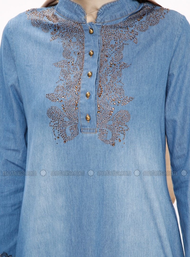Bleu marine col chinois tissu non double coton for Robe col chinois