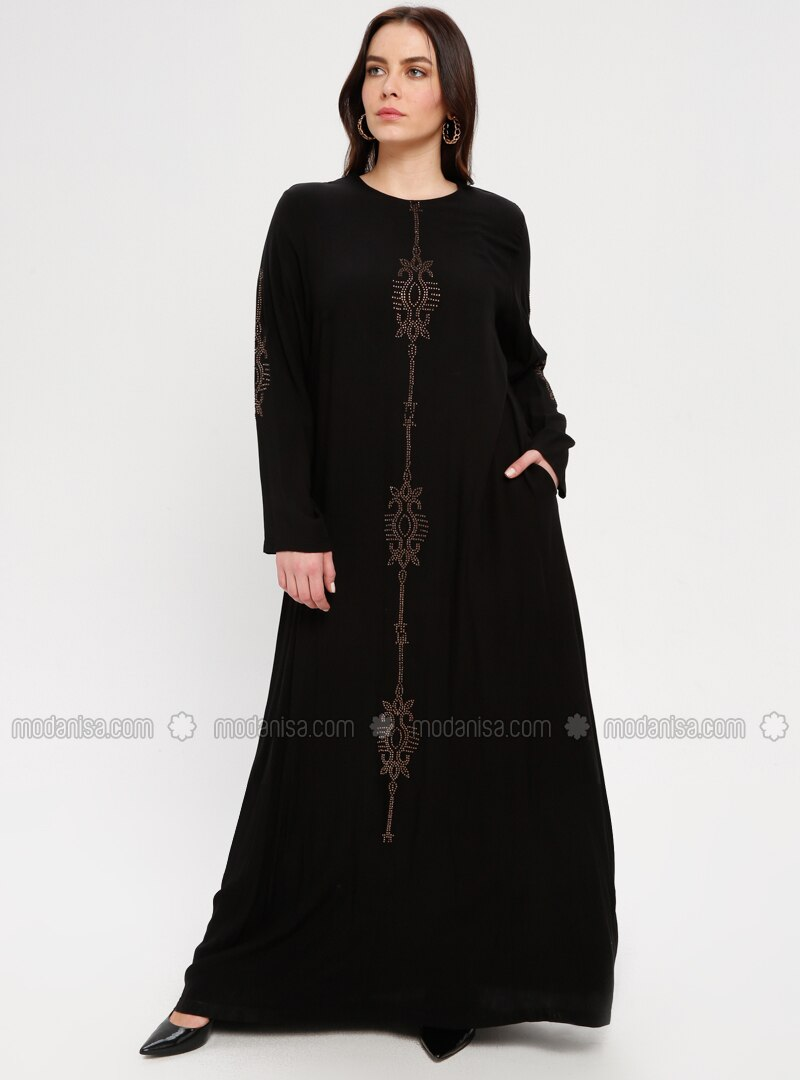 Black - Unlined - Crew neck - Plus Size Dress - BAGİZA