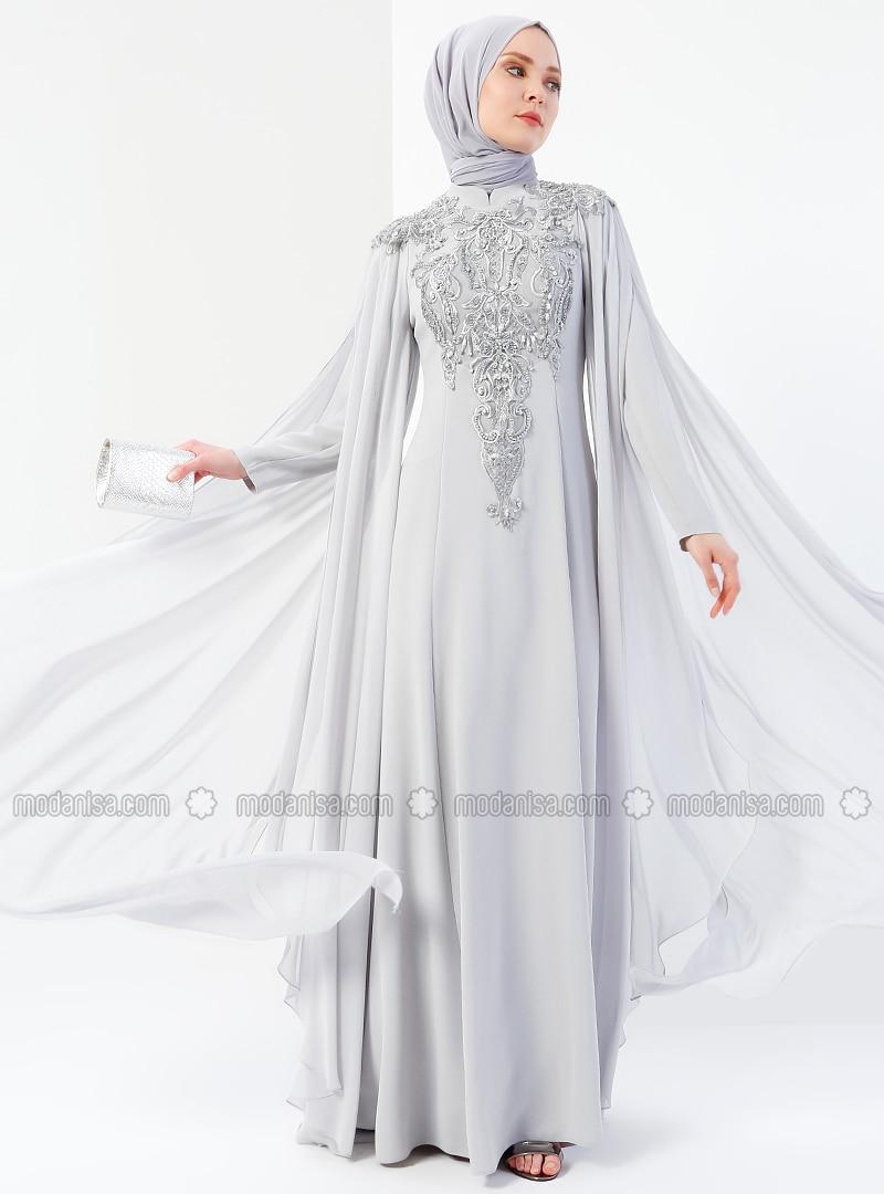 b519eb0064d1e Şifon Parçalı Taşlı Abiye Elbise - Gri