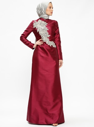 Maroon - Fully Lined - Crew neck - Muslim Evening Dress - Minel Ask 409187