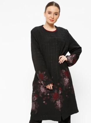 Black - Floral - Crew neck - Unlined - Plus Size Jacket - he&de