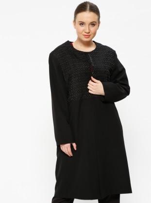 Black - Crew neck - Unlined - Plus Size Jacket