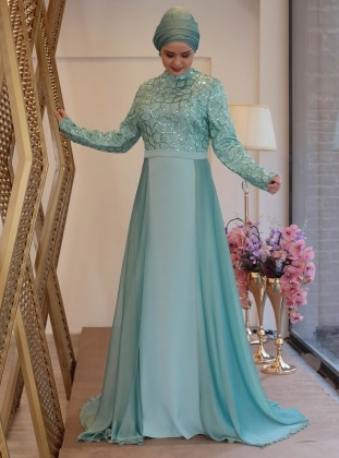 Mint Fully Lined Crew Neck Muslim Plus Size Evening Dress