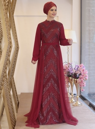 Maroon Fully Lined Crew Neck Muslim Plus Size Evening Dress