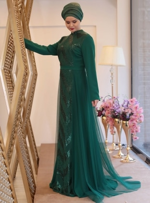 Green Fully Lined Crew Neck Muslim Plus Size Evening Dress