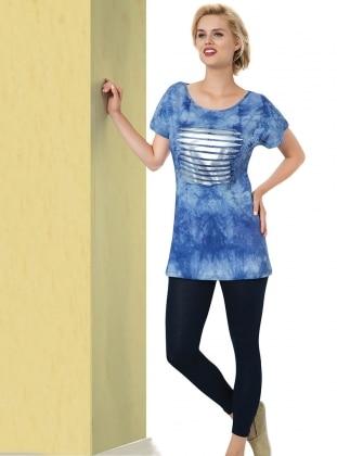 Blue - V neck Collar - Multi - Pyjama