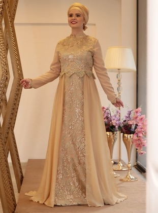 Golden Tone Fully Lined Crew Neck Muslim Plus Size Evening Dress