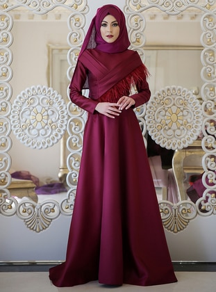Maroon - Fully Lined - Crew neck - Muslim Evening Dress - Minel Ask 409184