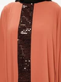 Orange - Unlined - Crew neck - Abaya