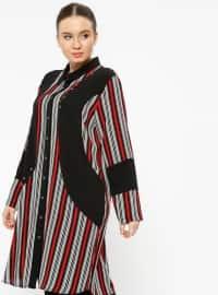Red - Black - Stripe - Point Collar - Plus Size Tunic