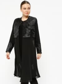 Black - Crew neck - Unlined - Plus Size Suit