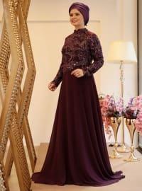 Saliha Hazal Abiye Elbise - Mürdüm - Saliha