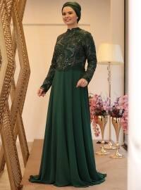 Hazal Abiye Elbise - Yeşil - Saliha