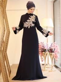 Naz Abiye Elbise - Lacivert - Saliha