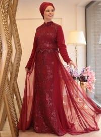 Nida Abiye Elbise - Bordo - Saliha