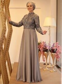 Sahra Abiye Elbise - Gri - Saliha