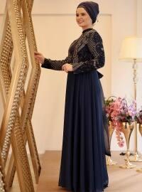 Sahra Abiye Elbise - Lacivert - Saliha