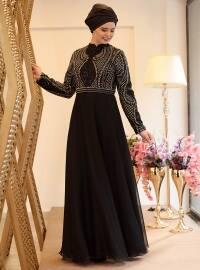 Sahra Abiye Elbise - Siyah - Saliha