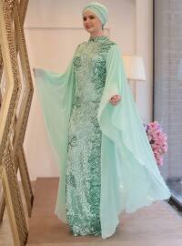 Saliha Sude Abiye Elbise - Mint - Saliha