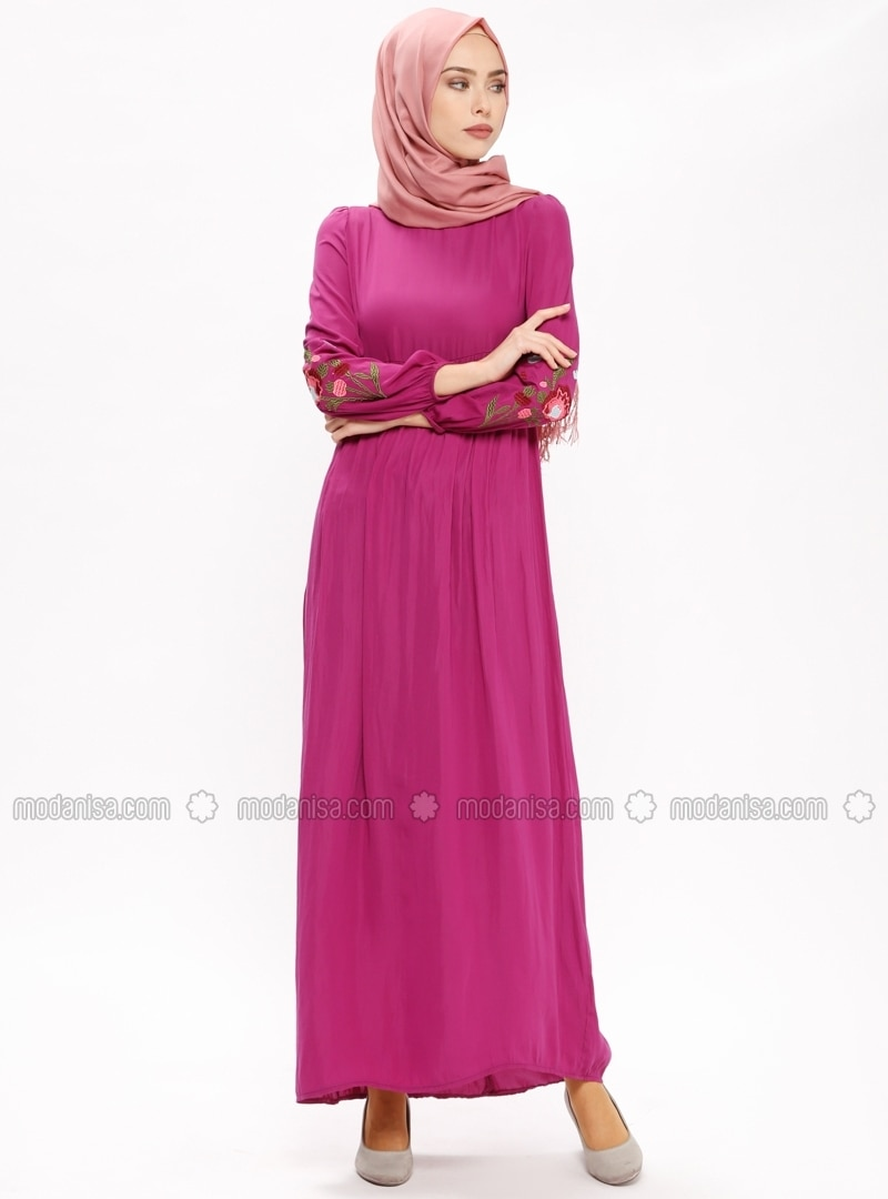 Pink - Purple - Polo neck - Unlined - Dresses