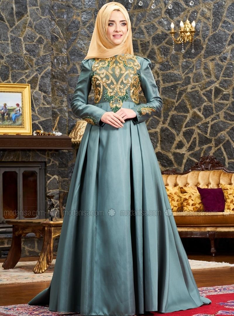 Khaki - Fully Lined - Crew neck - Muslim Evening Dress - Mevra