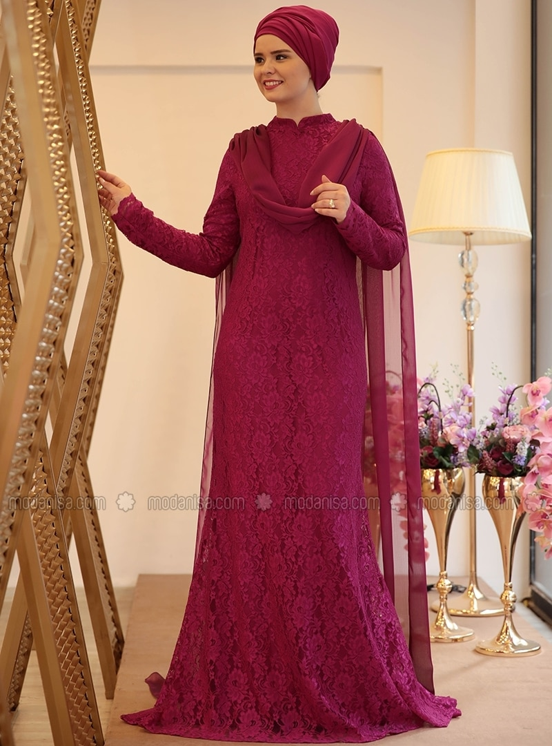 74d64841feff0 Pink - Purple - Fully Lined - Crew neck - Muslim Plus Size Evening Dress