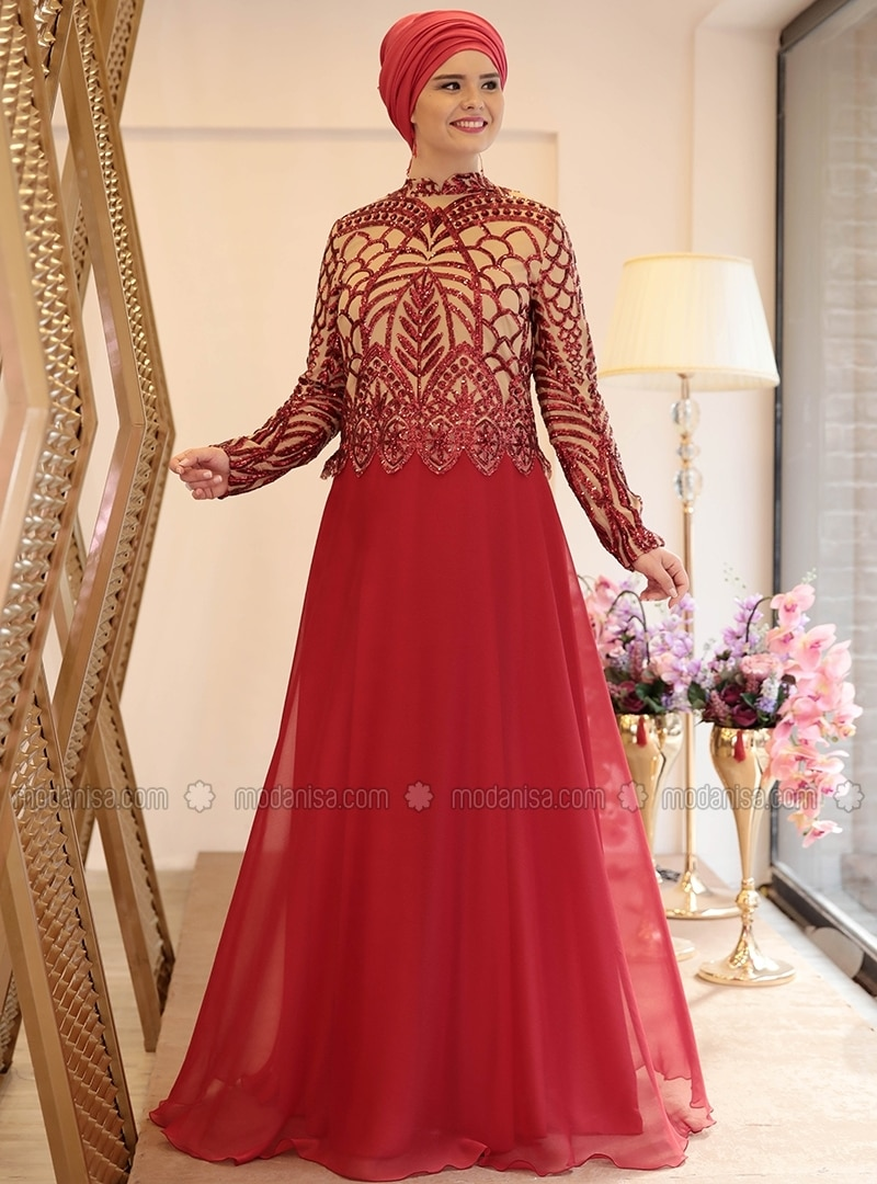Red Fully Lined Crew Neck Muslim Plus Size Evening Dress