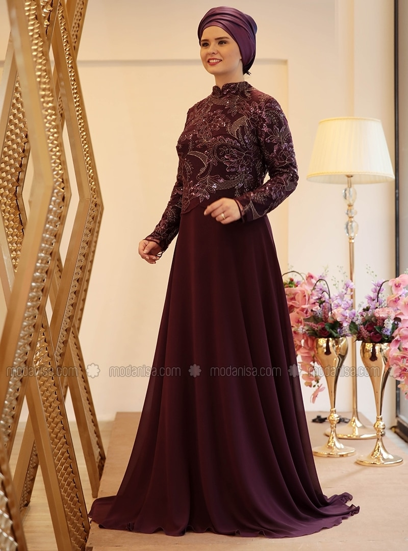 62b7634fb9f Purple Fully Lined Crew Neck Muslim Plus Size Evening Dress. Faviana plus  size purple animal print prom dress 9268 french novelty ...