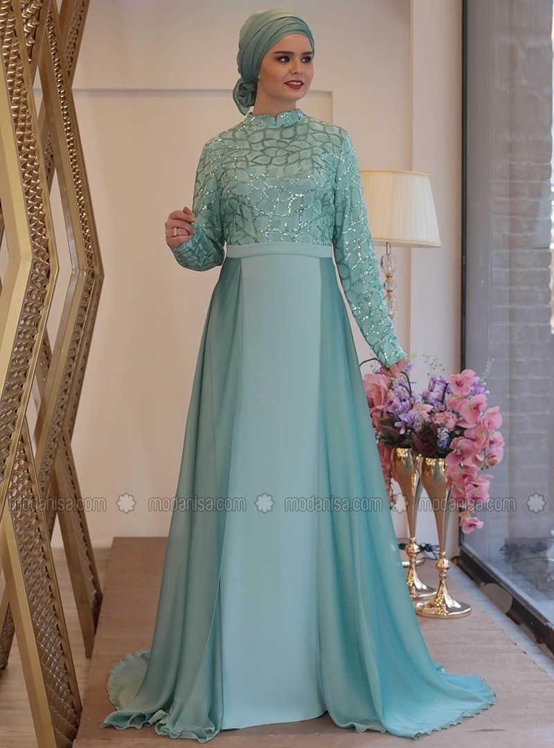 Mint - Fully Lined - Crew neck - Muslim Plus Size Evening Dress - Saliha