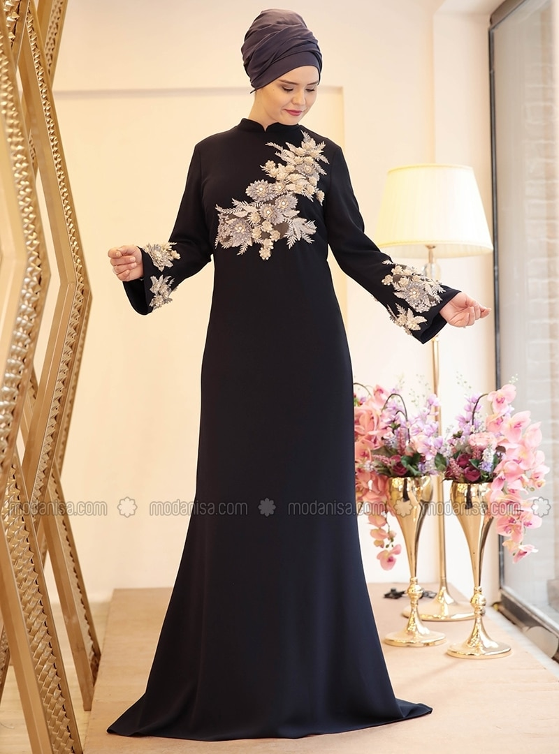 12dde1a5f6 Navy Blue - Fully Lined - Crew neck - Muslim Plus Size Evening Dress