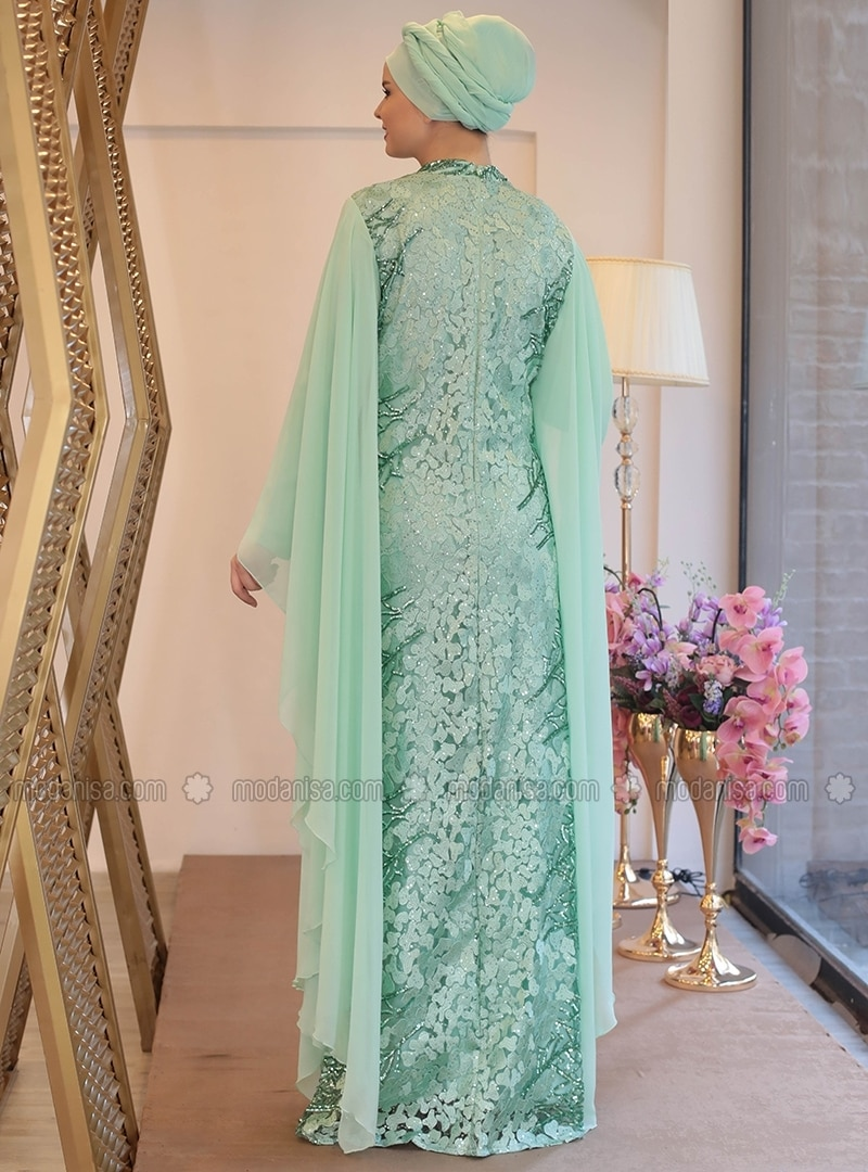 Mint - Fully Lined - Crew neck - Muslim Plus Size Evening Dress