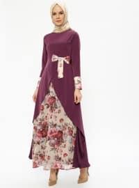 Purple - Multi - Crew neck - Fully Lined - Dresses