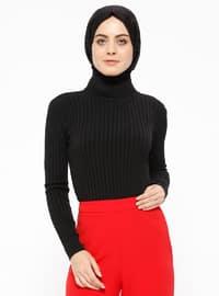 Boğazlı Triko Kazak - Siyah - Selma Sarı Design
