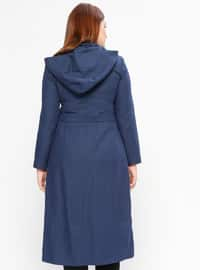 Blue - Fully Lined - Crew neck - Plus Size Coat