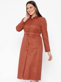Tan - Fully Lined - Crew neck - Plus Size Coat
