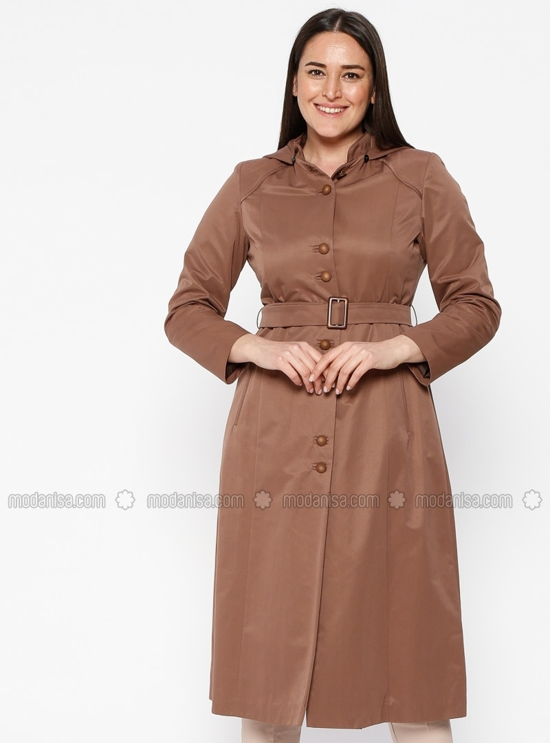 Brown - Fully Lined - Crew neck - Plus Size Coat