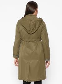 Khaki - Fully Lined - Crew neck - Plus Size Coat