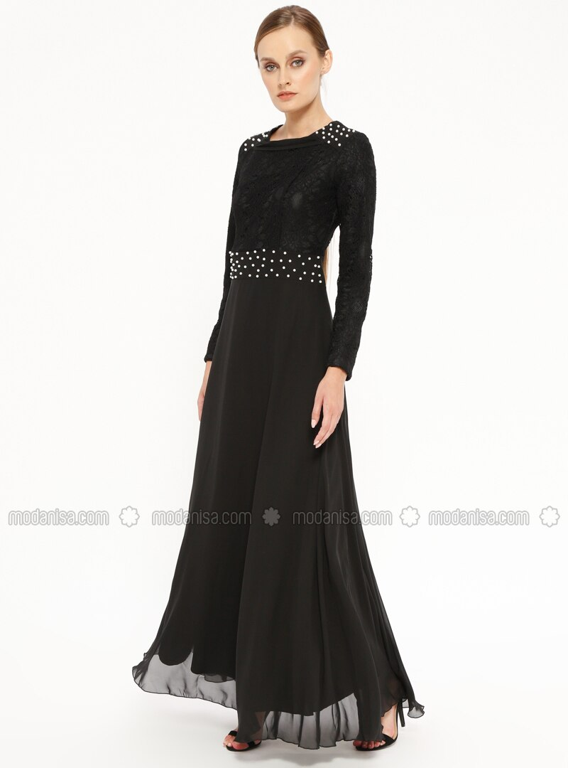 92ccd54378a27 İnci Detaylı Dantelli Abiye Elbise - Siyah